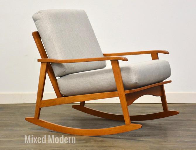 Mid Century Modern Grey Rocking Lounge Chair by mixedmodern1