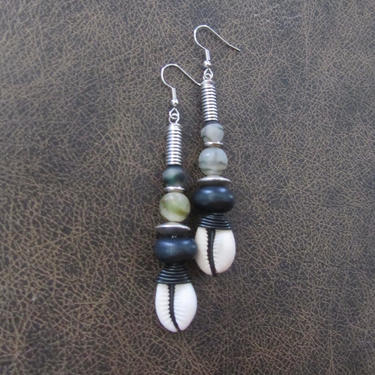 Cowrie shell earrings, unique earrings, black Afrocentric African tribal dangle earrings, camouflage  earrings, wire wrapped earrings 2 by Afrocasian