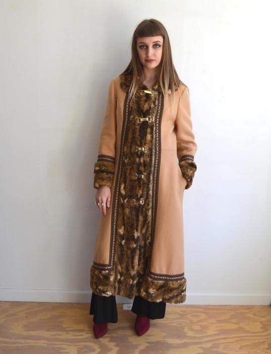 Famous Vintage 70's Embroidery + Fur Coat/ Penny Lane/ Hippie Winter  RW39