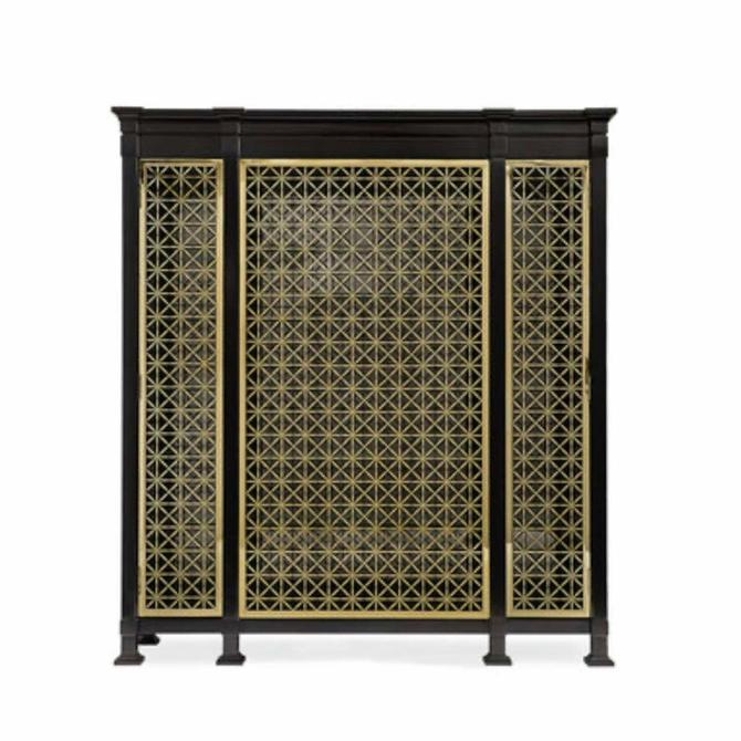 Caracole Modern Black and Gold Display Cabinet
