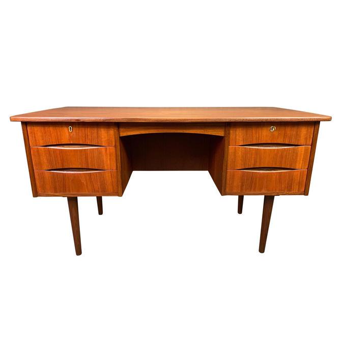 Vintage Danish Mid Century Modern Teak Writing Desk in the Manner of Arne Vodder by AymerickModern