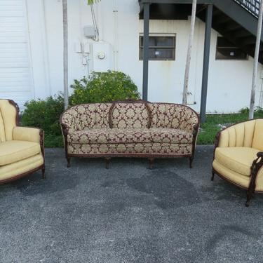 French Heavy Carved 3 piece Set of Long Sofa Couch His and Her Chairs 1648X