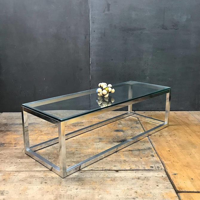 Vintage Pop Art Aluminum Rectangular Minimalist Coffee Table Mid