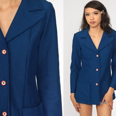 Blue Blazer 70s Jacket Notched Collar Hippie Boho Button Up 1970s Polyester Vintage Retro Bohemian Preppy Extra Small xs by ShopExile