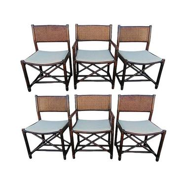 McGuire Directors Cane Back Bamboo Rattan Dining Chairs Set of Six Organic Modern by VeronaVintageHome