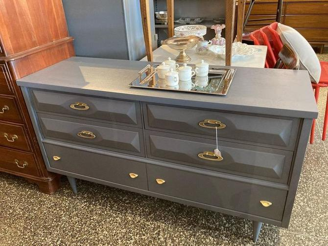 Grey painted MCM dresser, 54 x 18 x 30