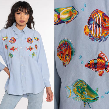 Chambray Fish Shirt Tropical Button Up Shirt Jean Blouse 90s Blue Long Sleeve Hipster Oxford 80s Cotton Button Down Large by ShopExile