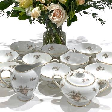 12 Piece Rosenthal Continental China Colonial Rose Tea Set Tea Cups Creamer And Sugar Free Shipping by DressingVintage