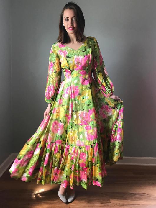 Vintage 70s Floral Chiffon Princess Gown by SpeakVintageDC