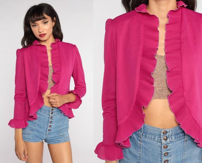 Puff Sleeve Top 80s Pink Ruffle Jacket Bohemian Shirt Open Front Vintage Boho Hippie Shirt Festival 1980s Top Medium by ShopExile