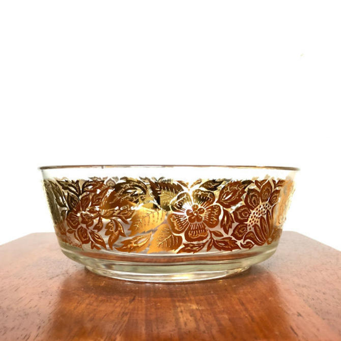 """Vintage Mid Century Modern Georges Briard Signed Gold Flowers 8"""" Bowl by OverTheYearsFinds"""