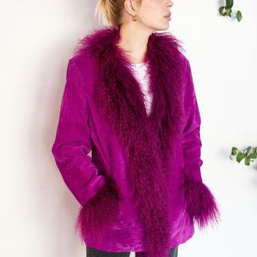 1990s Purple Suede + Mongolian Lamb Shearling Penny Lane Style Jacket sz S M Princess Coat Y2K Magenta by backroomclothing