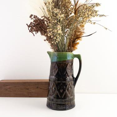 Vintage Stoneware Pitcher Vase, Tall and Slender Pottery Vase with Handle, Rustic Kitchen Decor by PebbleCreekGoods