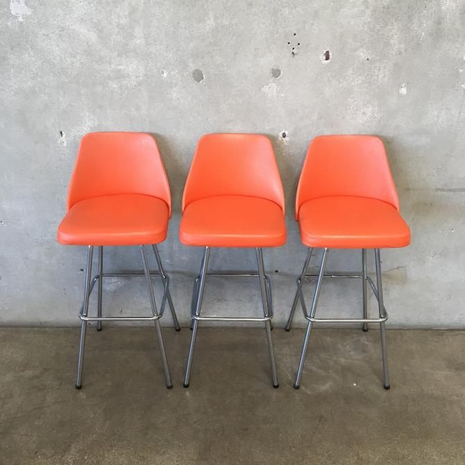 Set of Three Orange Vintage Barstools