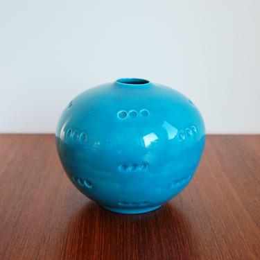 Vintage Turquoise Ceramic Flower Vase by MidCentury55