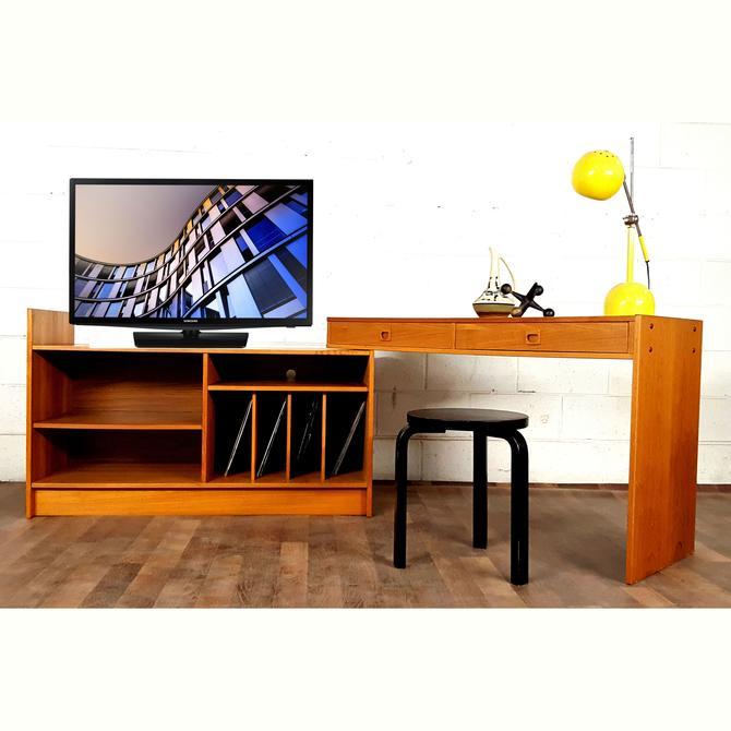Versatile Danish Modern Teak Long Credenza Desk