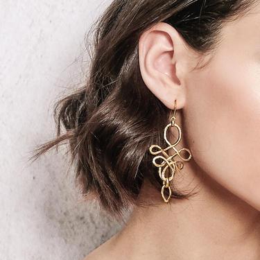 Gold Dangle Statement Earrings, Chandelier Earrings, Dangling Earrings, Wire Earrings, Long Gold Earrings, Gold Rope Earring, Ribbon Earring by OrlySegal