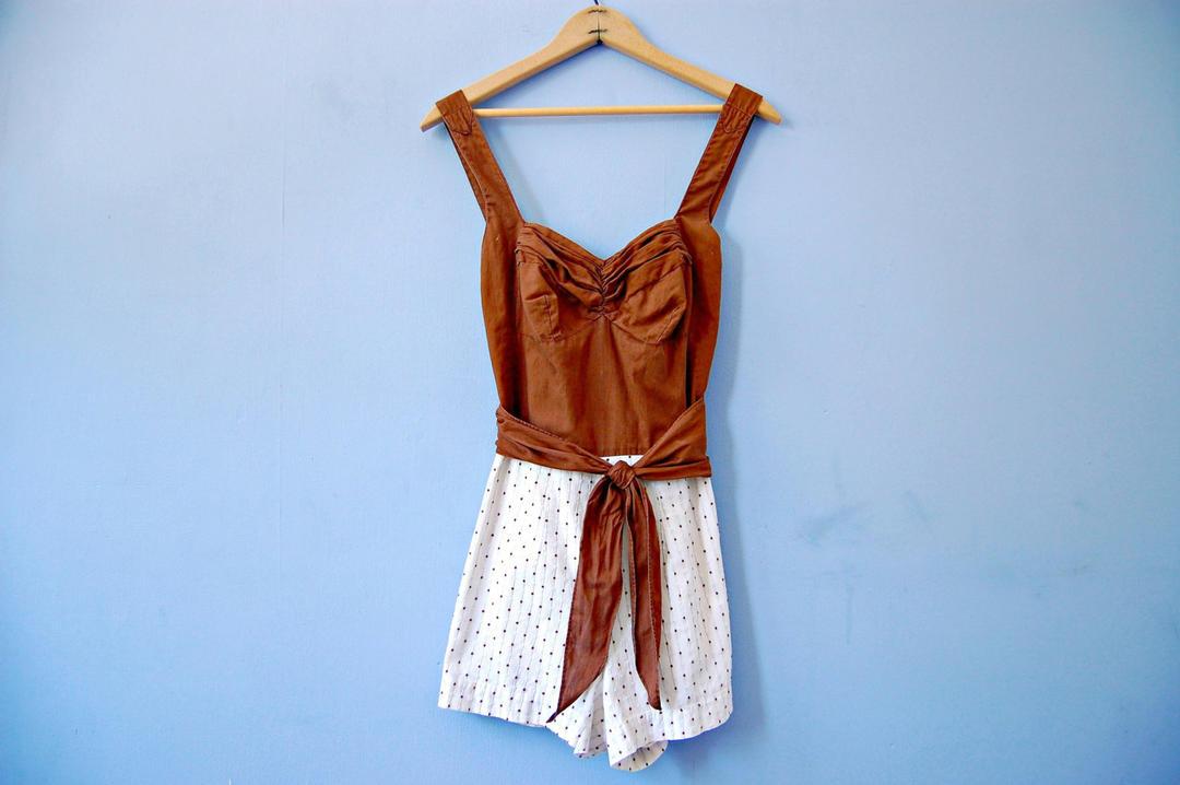 High Waist Swimsuit 1950s Vintage Swim Suit 50s Swimwear
