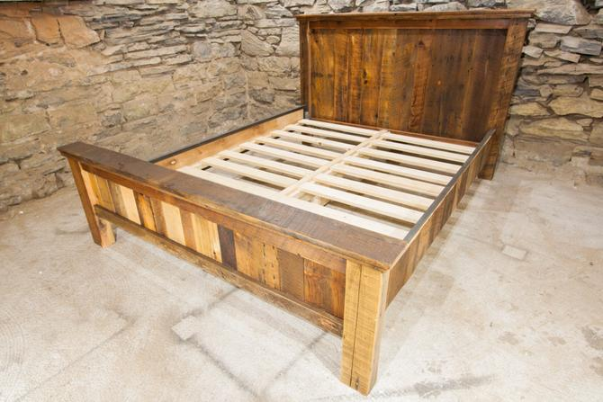 The Riverton Bed Frame From Reclaimed Barn Wood And Metal Trim By Barnwoodfurniture