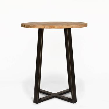 Vintage Wood Bar Height Table, Counter Height Table, Pub Table made with reclaimed wood and steel pedestal.  Choose size, height and finish. by UrbanWoodGoods