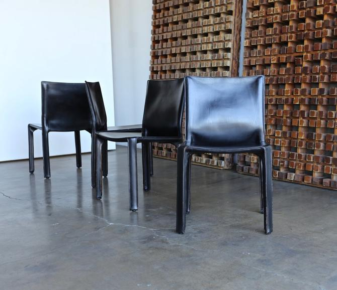 "Black Leather ""Cab"" Chairs by Mario Bellini for Cassina circa 1980"
