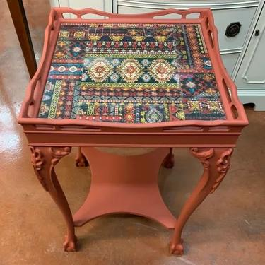 Hand Painted Terracotta Auburn Chippendale Mahogany Clawfoot Table
