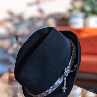 Vintage Marca Colombo Antica Casa Borsalino Alessandria Black Fur Felt Hat with Rope Detail by BeesKneesVintageDC