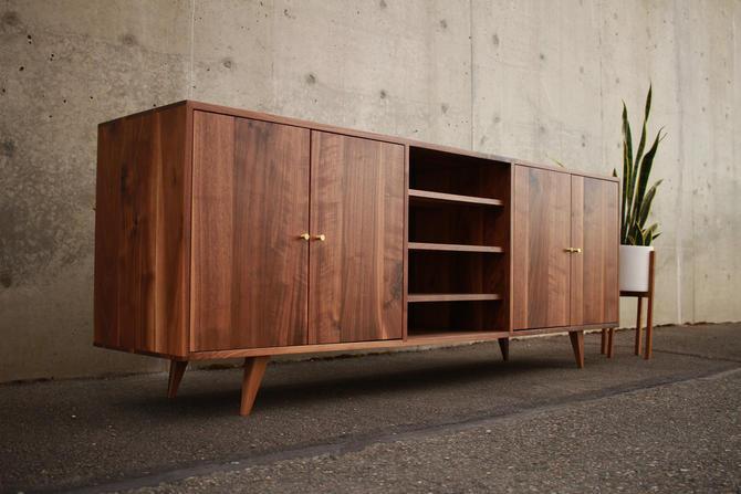 Ewell Buffet, Mid-Century Modern Sideboard, Mid Century Media Cabinet, Modern Solid Wood Buffet (Shown in Walnut) by TomfooleryWood