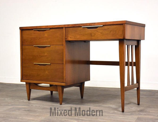 Kent Coffey Tableau Walnut and Brass Desk by mixedmodern1