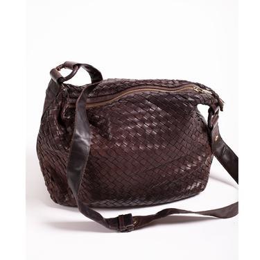 Bottega Veneta Brown Intrecciato Leather Medium Adjustable Crossbody or Shoulder Bag Vintage Minimal Nappa Woven Y2K Purse Satchel by backroomclothing