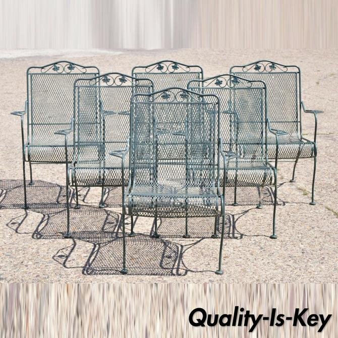 Meadowcraft Leaf Vine Wrought Iron Green Patio Outdoor Dining Chairs - Set of 6