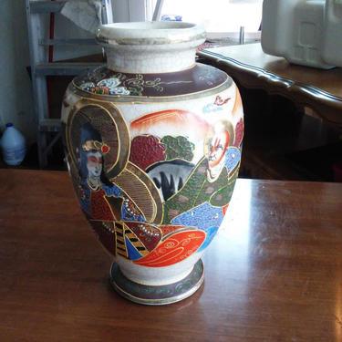 VINTAGE SATSUMA Style Vase// Hand Painted Sastuma Flower Vase// Mid Century Satsuma Vase Made in Japan by 3GirlsAntiques