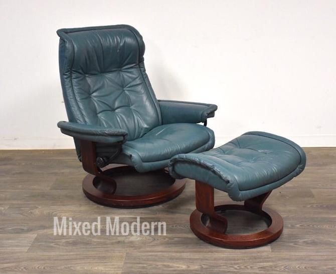 Modern Leather Stressless Ekornes Lounge Chair & Ottoman by mixedmodern1
