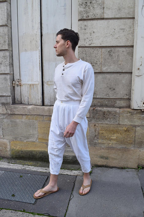 Edwardian French White Cotton High Waist Trousers // 1910s 20s Undergarments Lounge Holiday Harem Pants by banjocatvintage