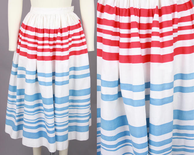 1950s Striped Skirt | Vintage 50s Cotton Skirt in White, Red, & Blue | xxs by RelicVintageSF