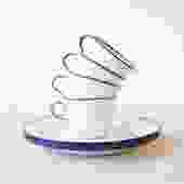 Set of 4 Enamel Mugs & 4 Plates