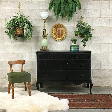 LOCAL PICKUP ONLY Vintage Dresser Retro 1940s Black Wood Bureau + Carved Details + Metal Pulls + 3 Lined Drawers + Bedroom + Clothes Storage by RetrospectVintage215