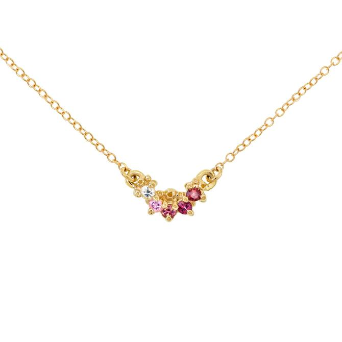 Small Curve Necklace - Pink Sapphire