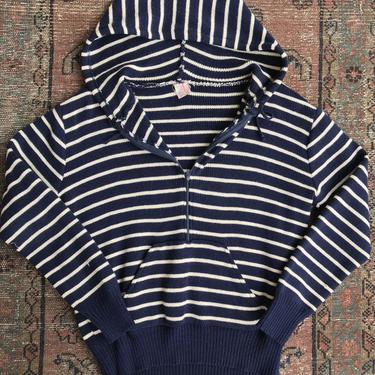 70's Xsm Adult/ girl boy /striped hoodie/ navy blue white stripes~ thin pullover hooded sweatshirt~  Unisex ~ XSM by HattiesVintagePDX