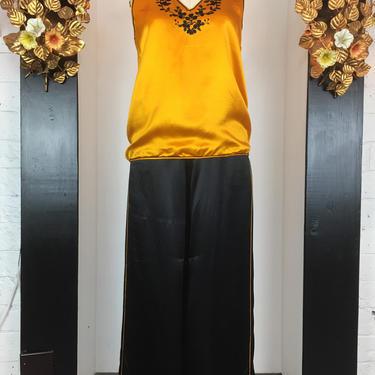 1930s silk pajamas, vintage 30s pjs, yellow and black, 1930s loungewear, Art Deco sleepwear, palazzo pants, medium by melsvanity