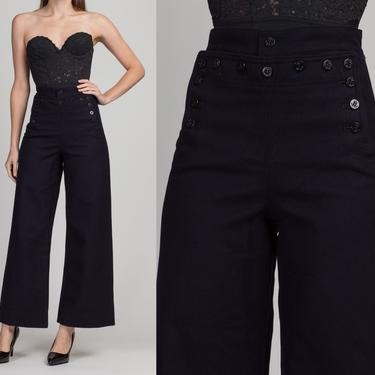 """Vintage High Waist Navy Sailor Pants - 27"""" Waist, XS to Small   Unisex Dark Blue Wool Flared Anchor Button Uniform Trousers by FlyingAppleVintage"""