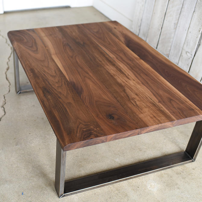 Walnut Coffee Table / Industrial Steel Legs / Live Edge Coffee Table by wwmake
