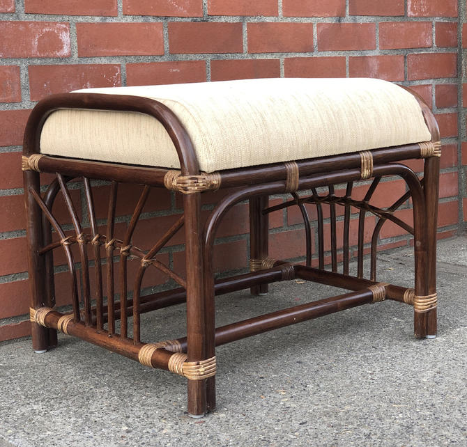 Free and Insured Shipping Within US - Vintage Rattan Sofa Stool ottoman by BigWhaleConsignment