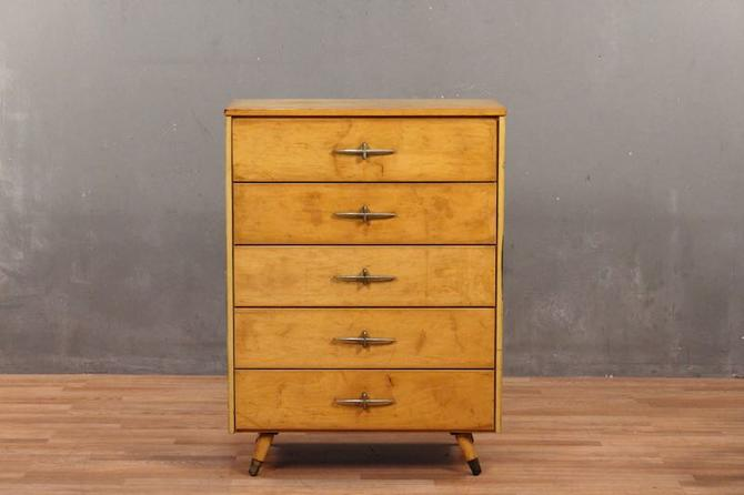 Mid Century Golden 5-Drawer Highboy Dresser