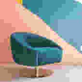 Velvet & Brass Swivel Chair