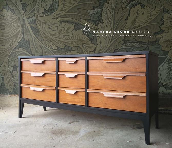 #471: FINISHED AND AVAILABLE       Mid Century Triple Dresser in Black and Medium Walnut