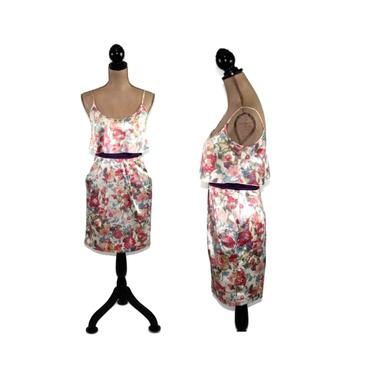 Vintage 90s Floral Satin Mini Dress XS, Spaghetti Strap Summer Party Dress with Pockets, 1990s Clothes for Women from Teeze Me by MagpieandOtis