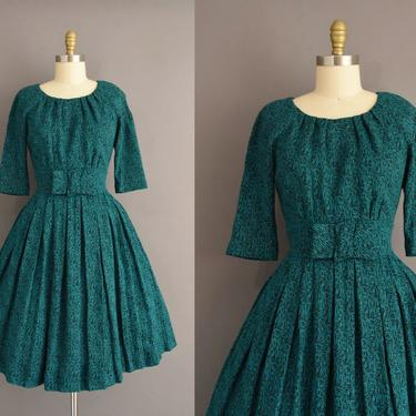 vintage 1950s dress | Gorgeous Deep Green Cozy Fall Winter Full Skirt Dress | Large | 50s vintage dress by simplicityisbliss