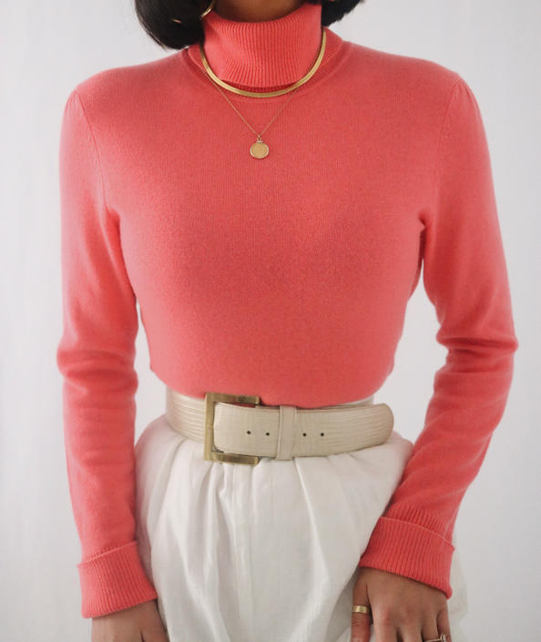 Vintage Coral Pink Cashmere Turtleneck Sweater - Softest Pure Cashmere Cozy Sweater - S/M by LadyLVintageCo