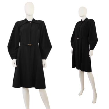 STUNNING 1940s Bishop Sleeve Coat - 1940s Black Princess Coat - 1940s Black Coat - Bishop Sleeve Princess Coat - 1940s Coat   Size Small by VeraciousVintageCo